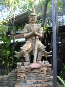 A statue of the monkey character that is well known from a poem in Thai culture.