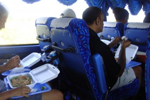 Passengers eating.