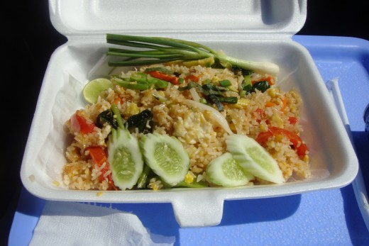 I ordered fried rice with vegetables--yummy. There were at least eight different lunches to choose from.