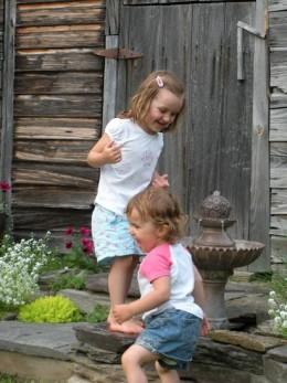 My nieces enjoying the garden