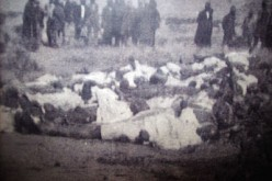 "Bodies of the dead at Bullhoek. From ""Let's Praise"" magazine."