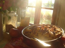 Fabulous Bread and Butter pudding looking a treat in the late afternoon Limousin sunshine