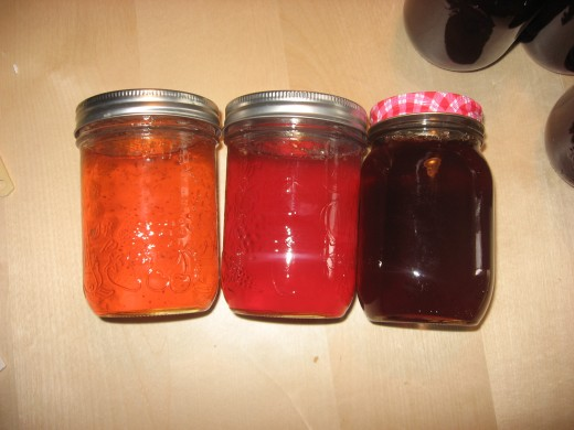 (l-r) Regular Apple Jelly, Spiced Apple Jelly, and Spiced Crabapple Jelly