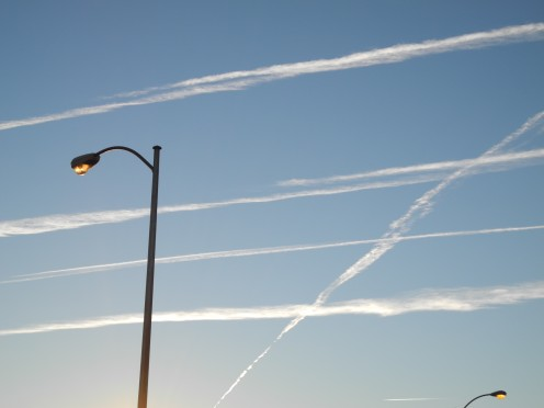 Chemtrails start as small thin lines and then quickly develop into larger cloud like formations and masses (Example A)