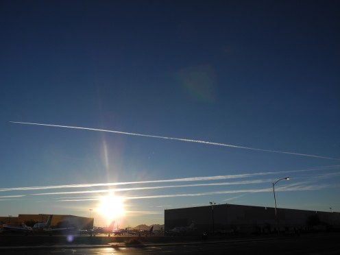 Chemtrails start as pencil thin lines, then gradually widen into huge cloud like formations. Las Vegas directly across private airport. The density of the air changes, less oxygen available, harder to breathe, creates asthma and respiratory issues.