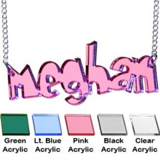PINK - Custom No 2 Lucite Personalized Neckace by Body Candy