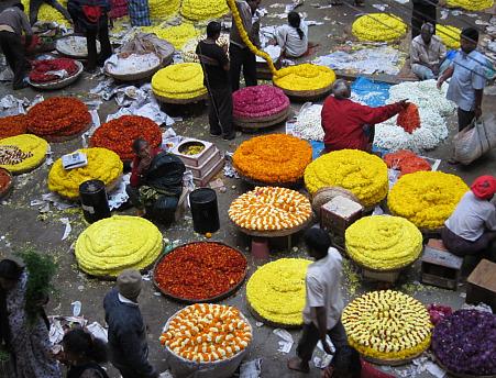Flower Bazaar in KR Market early morning
