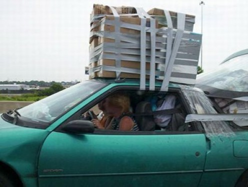 Who needs a roof rack, when you have duct tape?