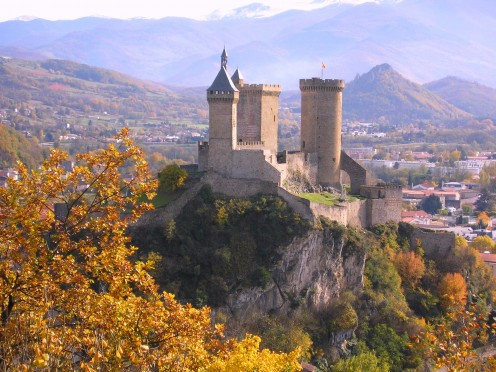 With the Pyrenees in the backgound, Foix and its castle: seat of the counts who were Co-Princes of Andorra