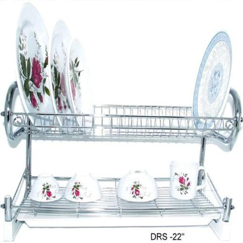 A quality double-decker dish drainer in a clean chrome finish.