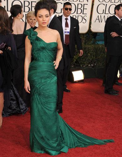 Mila Kunis in a Vera Wang green gown.