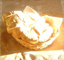 French bread. The sun shines into the breakfast room in the morning.