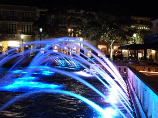 "City Place ""Dancing Waters"". I set the camera on the edge of the concrete pool for this one. Great color and a nice effect of water flowing."