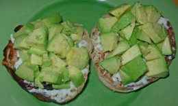 Avocado & Laughing Cow Cheese on Multi-Grain English Muffins