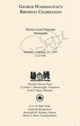My first accquisition was at a literary event featuring actor Barry Bostwick reading from a new Library of America book titled, George Washington: Writings - at the historic Morris-Jumel Mansion...actually used by Washington in the Revolutionary War.