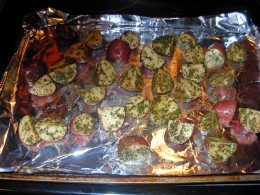 Step 9 - Place potatoes in single layer on large cookie pan
