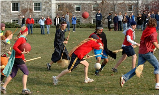 College students enjoying a lively game of Quidditch