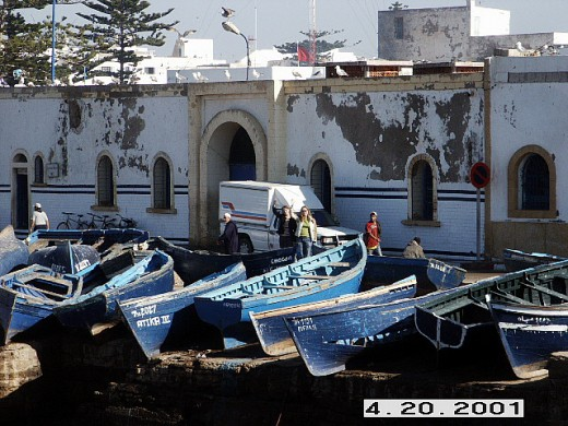 Essaouira's Harbor with its many blue fishing boats. Morocco.
