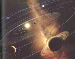 This artist rendition shows how the solar system is oriented to the galactic plane. Though this is not entirely accurate, it does make the important point of orientation.
