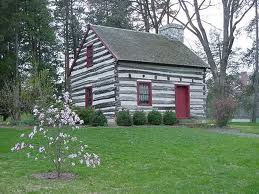 Buchanan log cabin birthplace, now located at Mercersburg Academy.