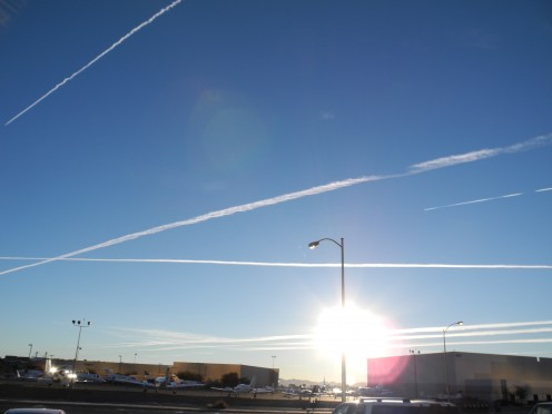 Chemtrails lining the complete sky.