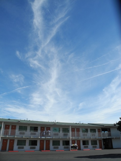 Chemtrail Cloud dispersing above the Motel 6 located near MGM