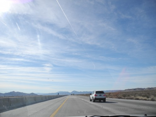 Driving South of Vegas towards San Diego.  Bombarded with non-stop chemtrail planes dumping pay loads of chemicals forming this surrealistic sky.  (This was going on for a consecutive 3 hours South of Vegas toward SD).