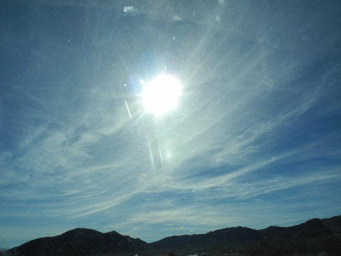 Surrealistic UNREAL skies...  Baking Soda consistency, thanks to the chemtrail pilots dumping non-stop payloads of chemicals into the skies.