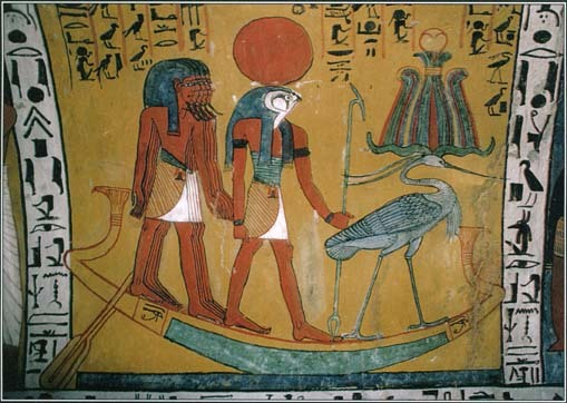 Re on his Solar Barque (Middle) with the deceased pharaoh shown in Akh form (Right)