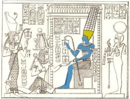 Amun (Middle, in colour) receiving offerings from Ramesses II (Kneeling) and flanked by his wife Mut (Left) and son Konsu (Right)