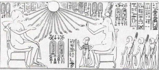 Nefertiti (Right) and Akhenaten (Left) In the presence of the Aten or 'Sun Disk' (Centre)