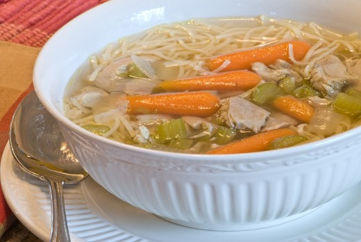 Homemade chicken noodle soup like your mom used to make.