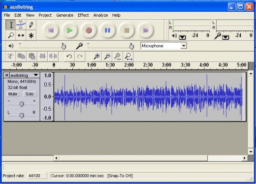 Audacity window after recording.  The data is the sound data.