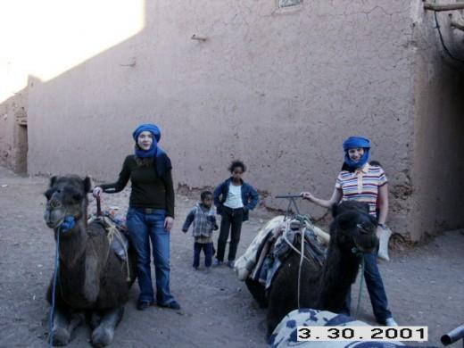 Zagora, Morocco. Getting ready for the camel ride through the Sahara Desert.