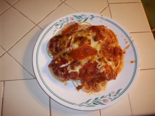 Chicken parm with spaghetti