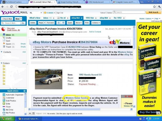 This is a screenshot of the emali sent by the seller with a fake EBay buyers protection plan receipt. Never use Western Union as payment on EBay or Craigslist ( request for western union payment highlighted in yellow)