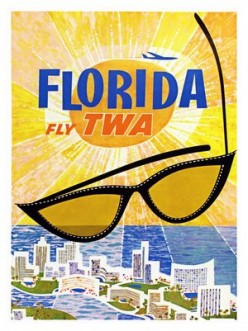 cross stitch pattern Florida travel poster