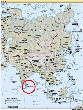 Sri Lanka in the Asian Map