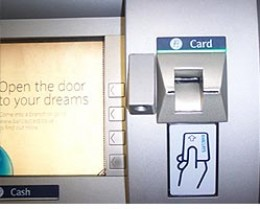 ATM with skimming reader attached