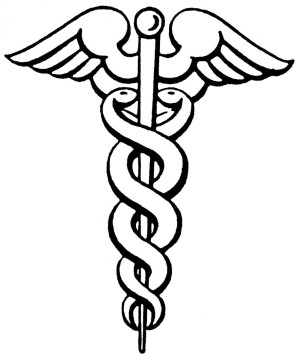 "The Caduceus (Greek: kerukeion, meaning ""herald's staff""). This was the staff carried by Hermes/Mercury, as well as other heralds. Different from the rod of Asclepius, a symbol of medicine which has only one snake and no wings."