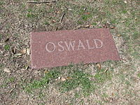 This simple stone marks Oswalds grave. It replaced the original whch was stolen. In 1981, Oswald was exhumed for tests to prove he was buried instead of a look-alike. His coffin was replaced, and the original sold at auction for $87000.