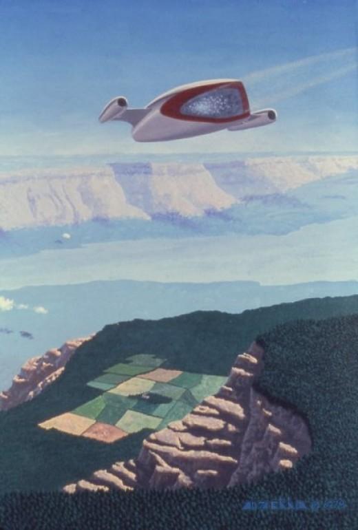 """Chasm,"" 24x30"", 1978, acrylic on canvas. Copyright Carl Martin."