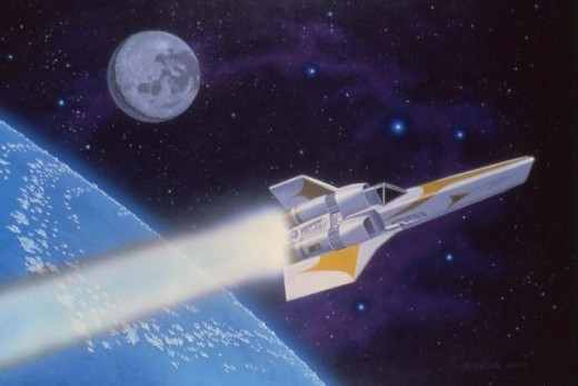 """Starfighter,"" 24x30"", 1979, acrylic on canvas. Copyright Carl Martin."