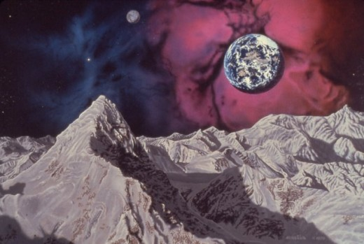 """Trifid Nebula,"" 24x30"", 1979, acrylic on canvas. Copyright Carl Martin."