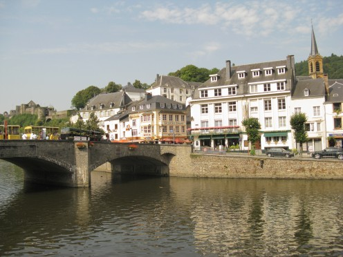 The Semois River, and the castle, beyond, at Bouillon