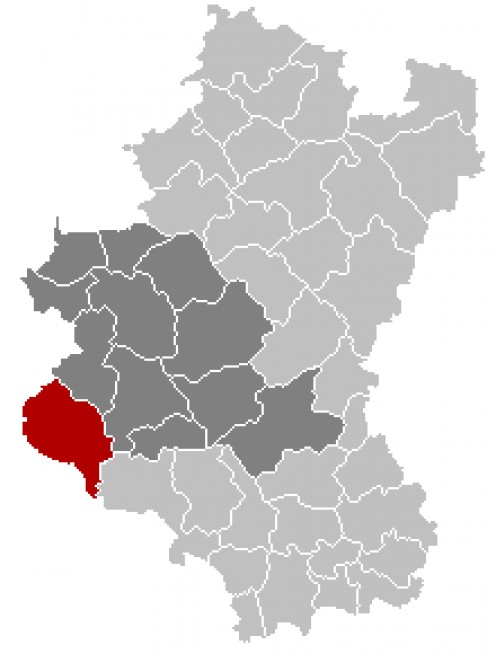 Map location of Bouillon in the Belgian province of Luxembourg