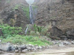Waterfall at 11 mile point on beach at end of hike-a great clean water source and bathing pools below.