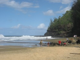 Lovely beach at 2 miles on start of hike. Beware of undertow-tourists drown here.