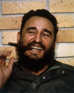 A middle aged and dapper looking Fidel Castro-long time Communist leader of Cuba.  He allowed the  Soviets to build nuclear silos on Cuba so the USA could be vaporized.