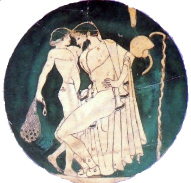 "This Greek cup dating from about 480 BCE shows the accepted form of homosexual love in Ancient Greece. From ""Sex and Spirit"" by Clifford Bishop (1996)"